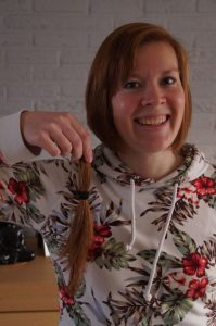 Milou's hair (tail) that has been cut, she is donating it to charity