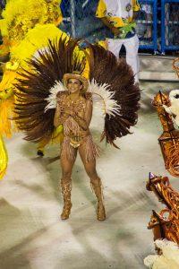 Samba dancer fully dressed up at sambadrome Rio de Janeiro