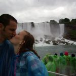 On the boat at Niagara Falls in our poncho's
