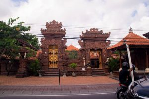 Temple next to the road Bali Indonesia