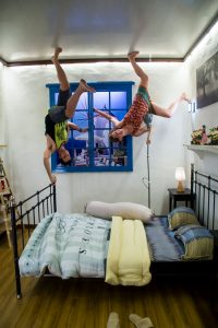 Look at us dancing on the ceiling at the upside down museum in Georgetown Malaysia