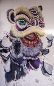 Beautiful Chines dragon streetart in George Town Malaysia