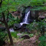 Centrum van Tokyo Japan heeft schitterende parken met watervallen