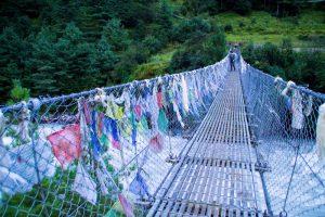 Everest Basecamp trek Nepal bridge crossing