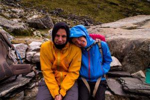 Everest Basecamp trek Nepal rest break