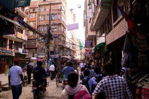 busy streets thamel kathmandu nepal