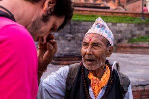 getting blessings kathmandu nepal