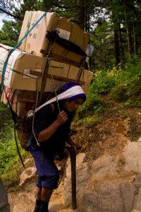 porter on Everest basecamp trek Nepal