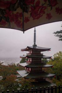 Chureito Pagoda Japan on a grey and rainy day