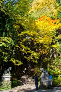 Japanese Alps temple autumn
