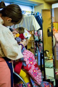 Osaka Japan Maikoya kimono dressing
