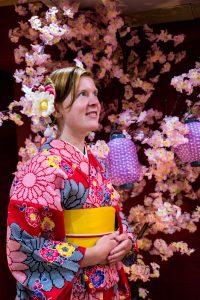Osaka Japan Maikoya kimono dressing blossom
