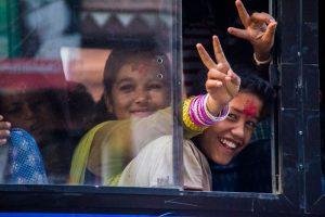 Bakthapur Nepal cheerful teenagers bus