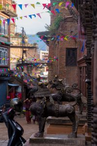 Bakthapur Nepal flags statues